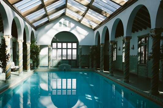 The sunny fountain room at the  Pleasantdale Chateau