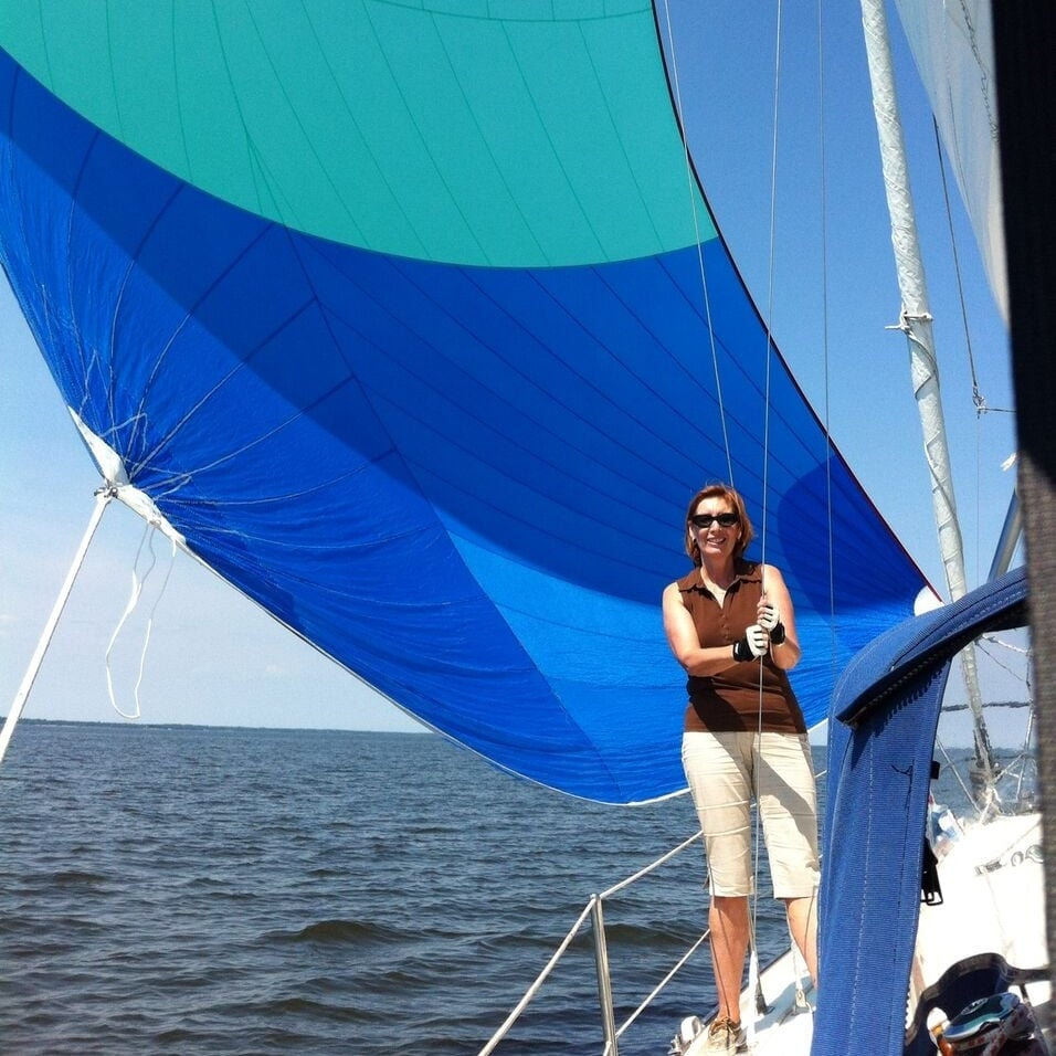 Darlene Hildebrand, Steve's partner in crime, on their Cloud, a Niagara 31. Darlene, who has been incredibly supportive to Steve, developed a love for sailing in 2005 when she met Steve.