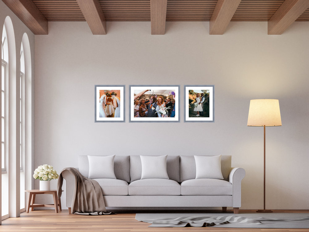 Photo framing - Professional printing of your images that come in a grey mounted frame. Prices start at £250