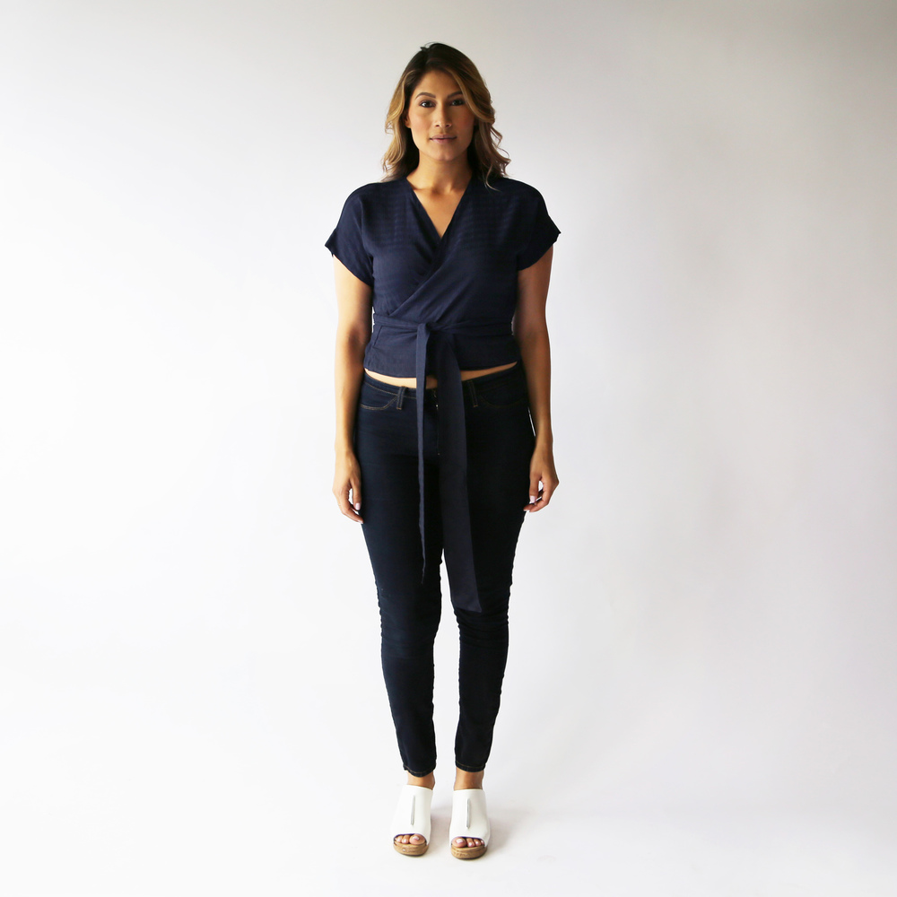 Hackwith Design Navy Elisa Wrap Top  available here