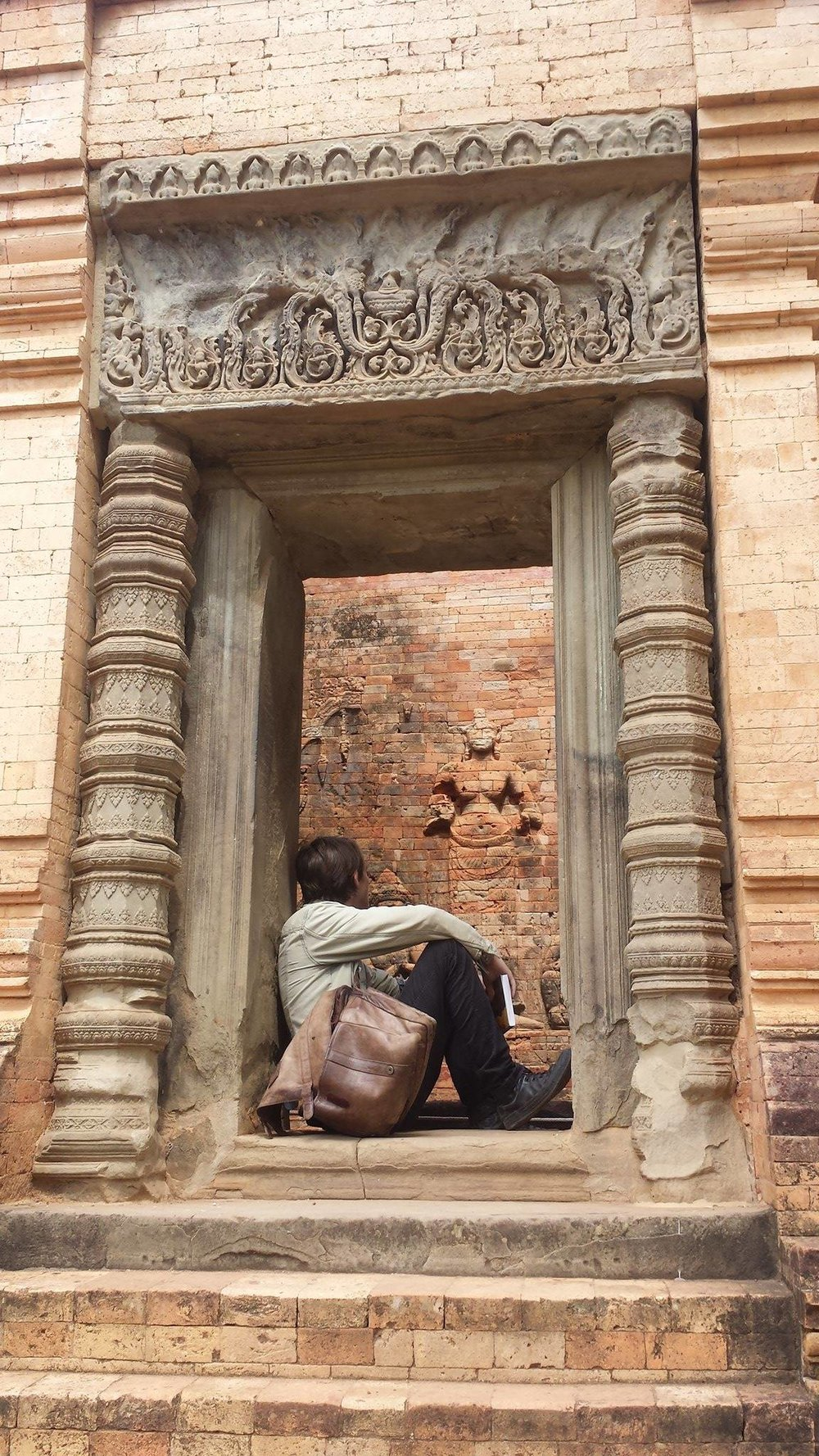 Myself in the shrine of Lakhsmi at Prasat Kravan. Photo by Mirabelle Jones