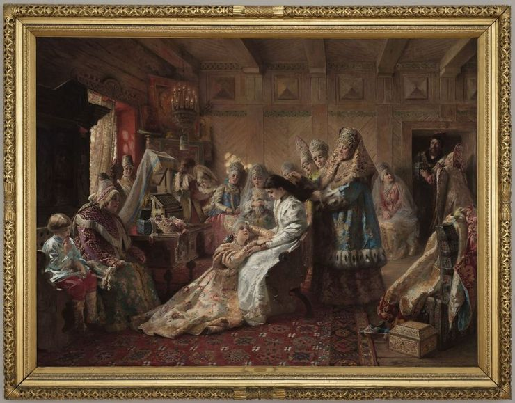 The Russian Bride's Attire - Konstantin Yegorovich Makovsky. The original hangs in the Legion of Honor museum in San Francisco and takes up an entire wall. I still marvel at the way that Makovsky was able to impose detail on tiny subsections of the painting without being able to see the representational utility of the detail at the resolution necessary to execute the brush strokes.