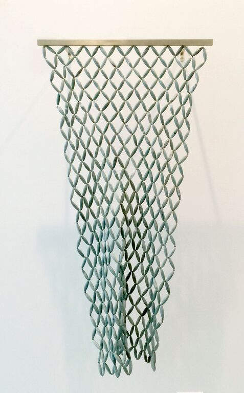 Mummy Net , 2015, marble, African jade, brass, 24 x 40 x 3 inches