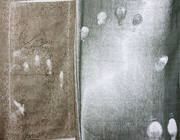 "Blueprint, 27.5"" H x 35"" W, hand woven Jacquard weaving, July 2013"