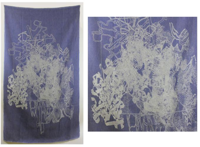 "no hay camino, 58""H x 33""W, woven Jacquard weaving, December 2012"