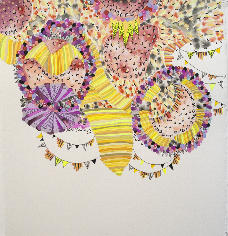 "In violet, 2012, Mixed media on paper, 13"" x 14"""