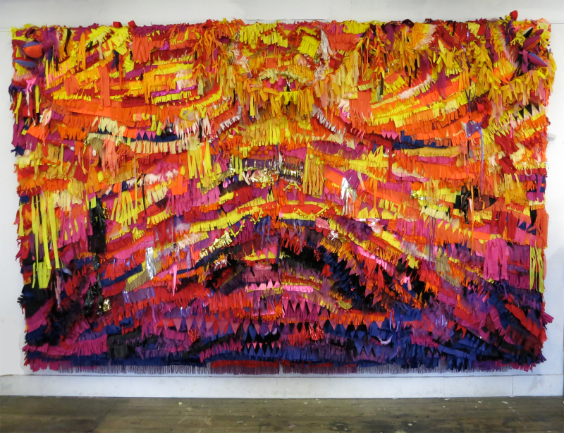 "Bliss, Fabric, ribbon, thread, glue on stretched canvas 7' x 11' x 7"", 2013"