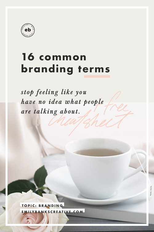 Sick of feeling out of the loop in talks with your designer? Have no idea what all these weird brand terms mean? Here's a list of 16 common terms - plus a free cheatsheet with additional definitions for common words you'll come across when dealing with logos.