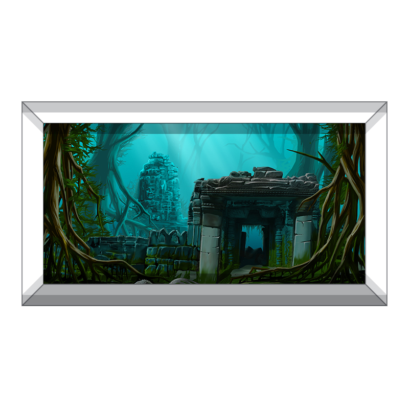 GoEoo 7x5FT Vinyl Backdrop Underwater Ruins Photography Background Fantasy Underwater Ruins Old Phonograph Fish Sea Bottom Plants Sunlight Ray Blue Water Boy Children Adult Photo Prop