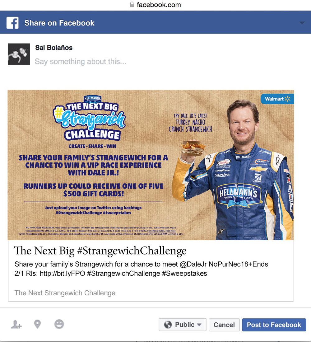 Strangewich Facebook contest entry