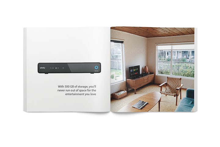 The three main features of XFinity Home devices were the voice-controlled remote control, simultaneous-recording DVR, and access to all recorded shows from any device, anywhere.