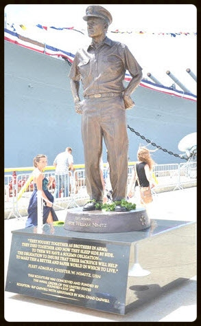 Statue of FADM Nimitz on a granite pedestal next to the USS Missouri Memorial Museum, Ford Island, Pearl Harbor, Hawai'i