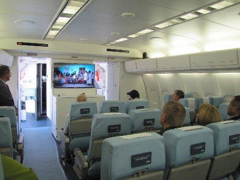 48 seat classroom on board the MD-10 aircraft.