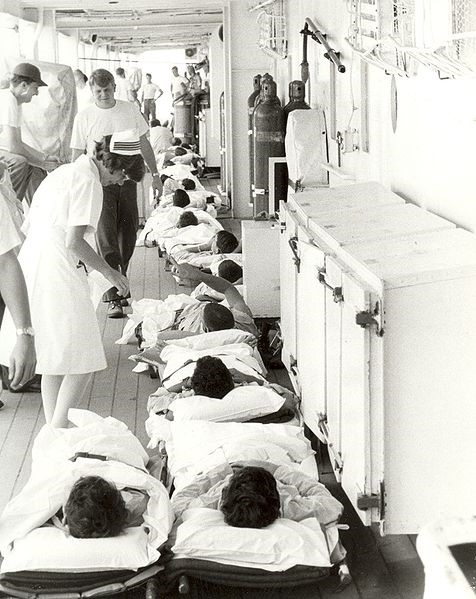 Navy nurse and patients aboard USS  Sanctuary  in the 1960s