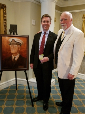LCDR Jay Gaul, with his father, J. Hunter Gaul III, the artist who painted the portrait of Admiral Lucius Johnson who introduced the Daiquiri to the Army Navy Club in Washington, D.C. in 1910.