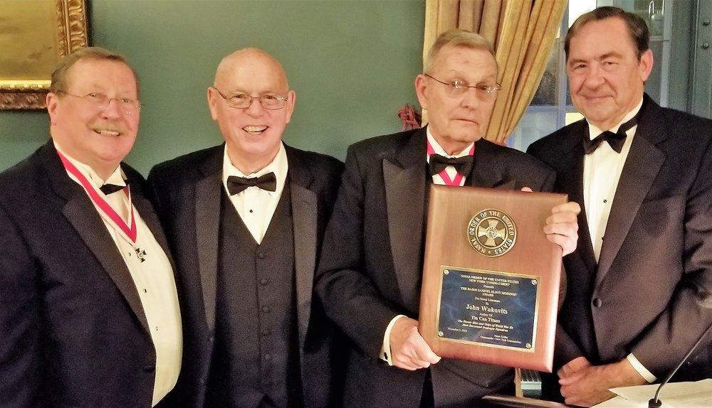 Award Committee presents the RADM Samuel Eliot Morison Award for Naval Literature to John Wulkovits. (Left to Right: William Schmidt, Esq., John Wulkovits, Commandery Commander Norm Keller, Daniel M. Thys, MD.)