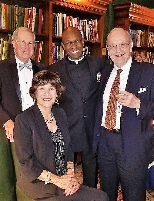 Mark and Gail Lehman (left), Commandery Chaplain Mark Bristol, and Robert Smith at the Morison award dinner.