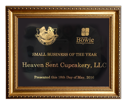 Heaven Sent Cupcakery was named 2016 Small Business of the Year by the Greater Bowie Chamber of Commerce and the City of Bowie Economic Council