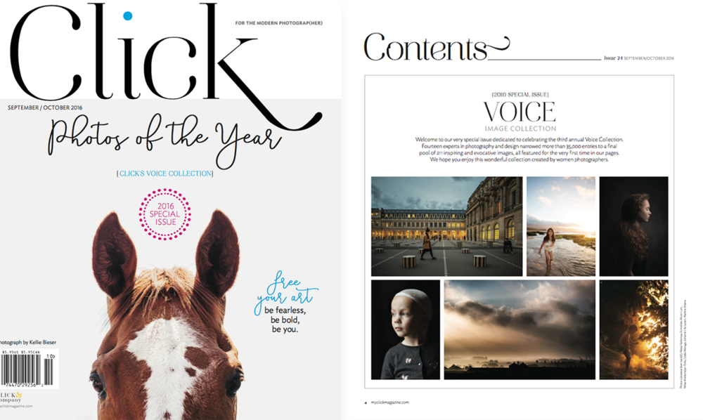 """""""2016 Voice Image Collection: """"Welcome to our very specially issue dedicated to celebrating the third annual Voice Collection.Fourteen experts in photography and design narrowed more than 35,000 entries to a final pool of 211 inspiring and evocative images, all featured for the very first time in our pages. We hope that you enjoy this wonderful collection created by women photographers."""""""