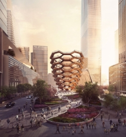 A rendering of Thomas Heatherwick's Vessel (image from Forbes Massie)