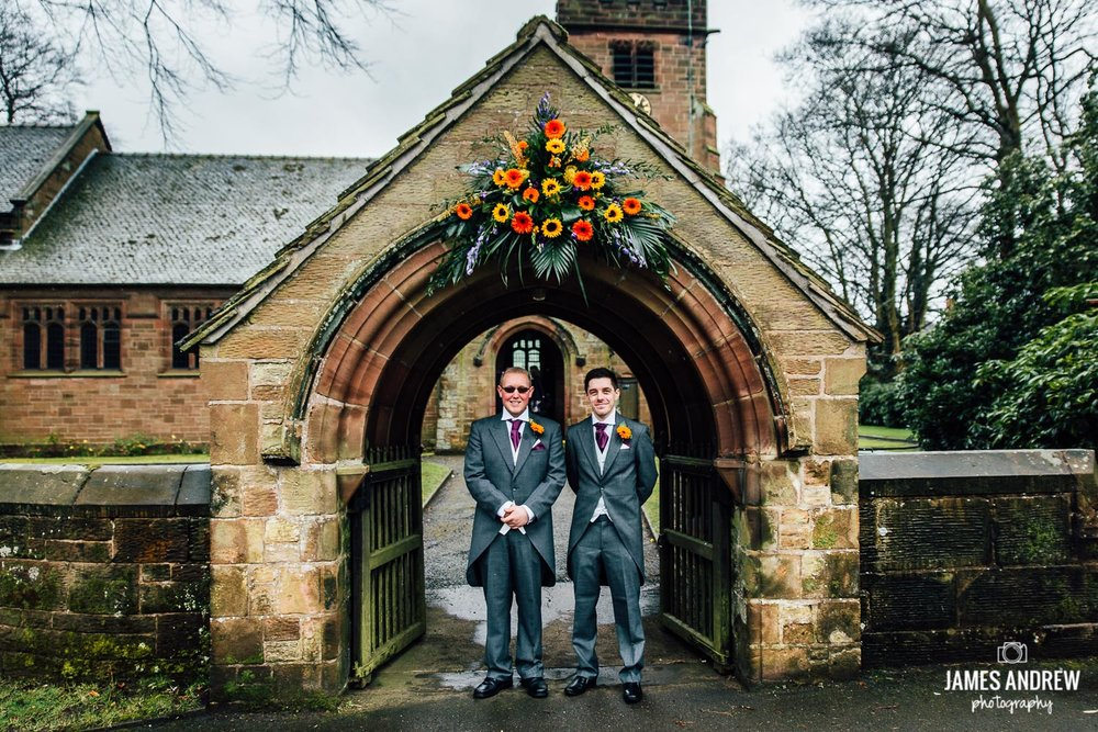 groom and best man waiting outside church cheshire