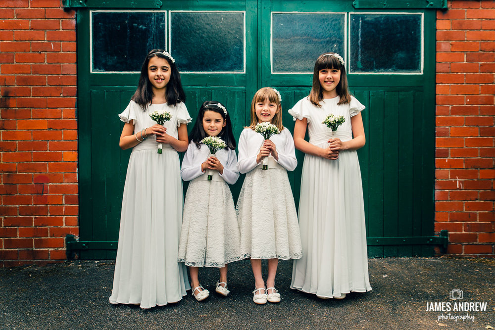 bridesmaids with flowers vintage wedding