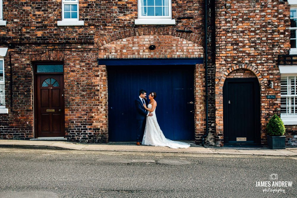 bridal portrait on traditional english street