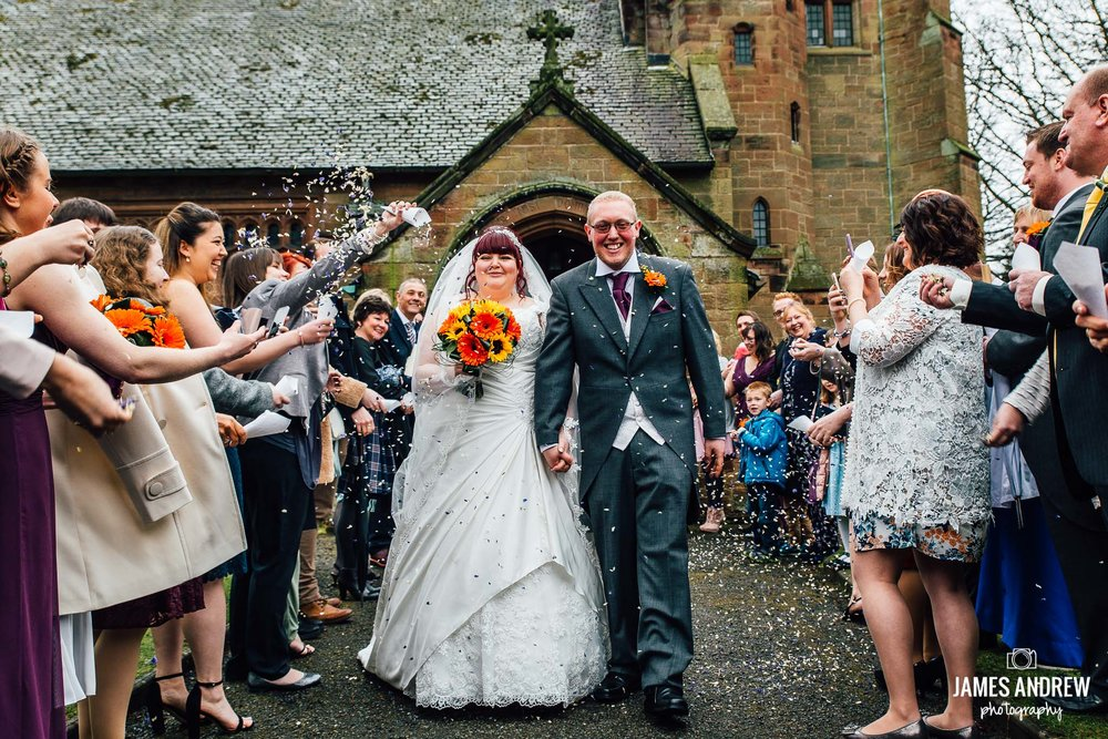 bride and groom leaving church confetti shot cheshire