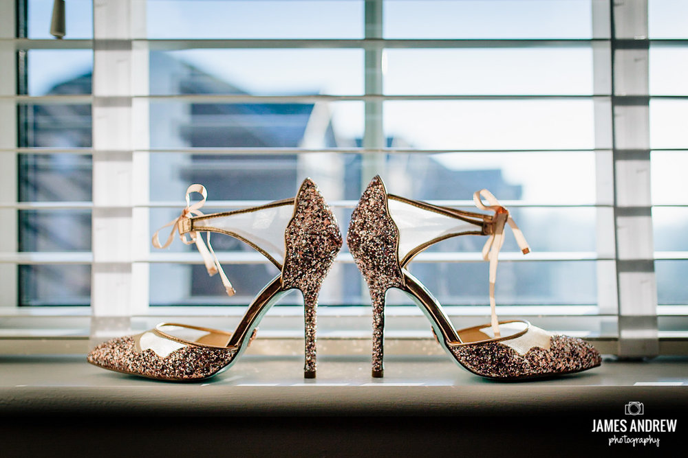 Sparkly wedding shoes in window