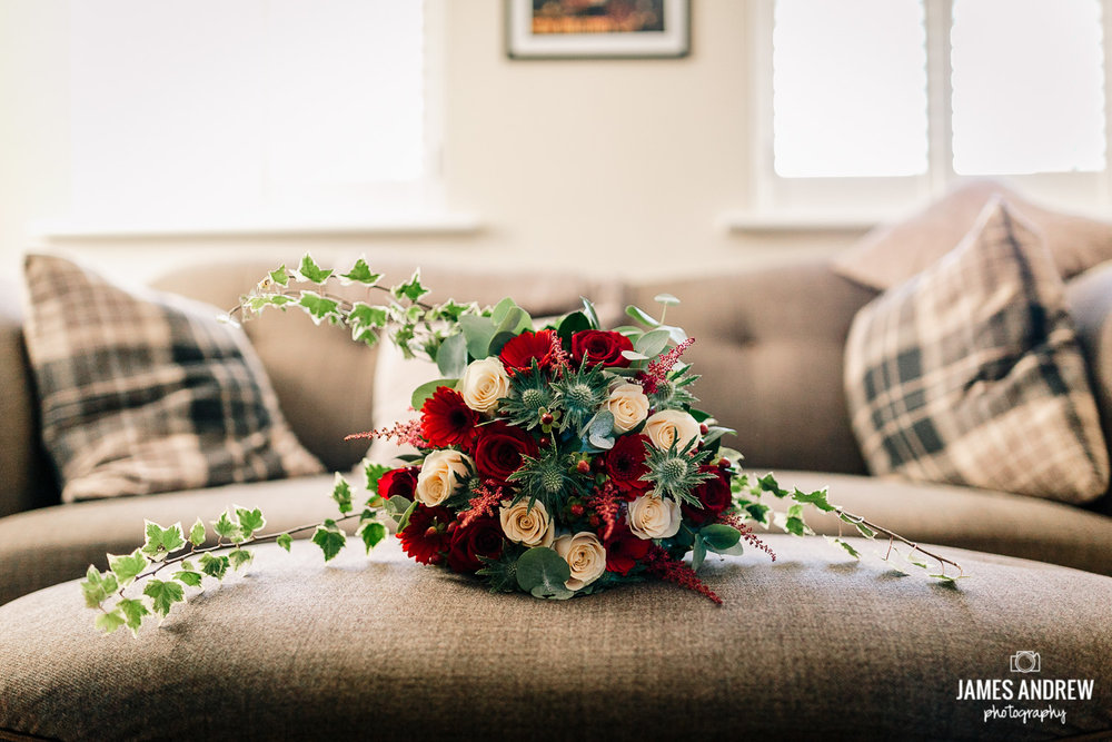 Winter wedding flowers red and cream