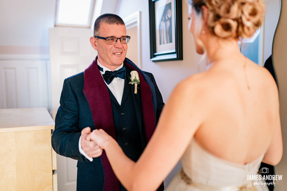 Farther see's bride for the first time