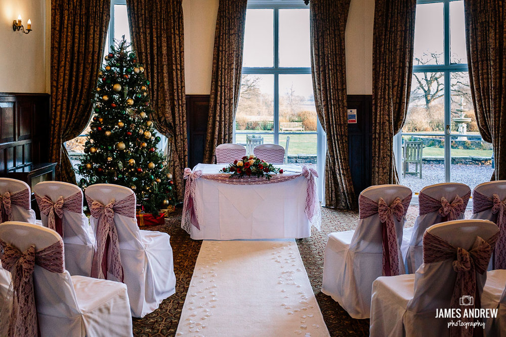 Christmas wedding room at Rookery Hall