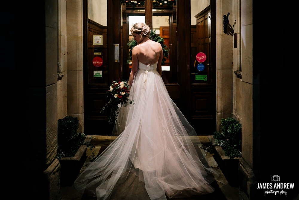 Bride portrait back of dress
