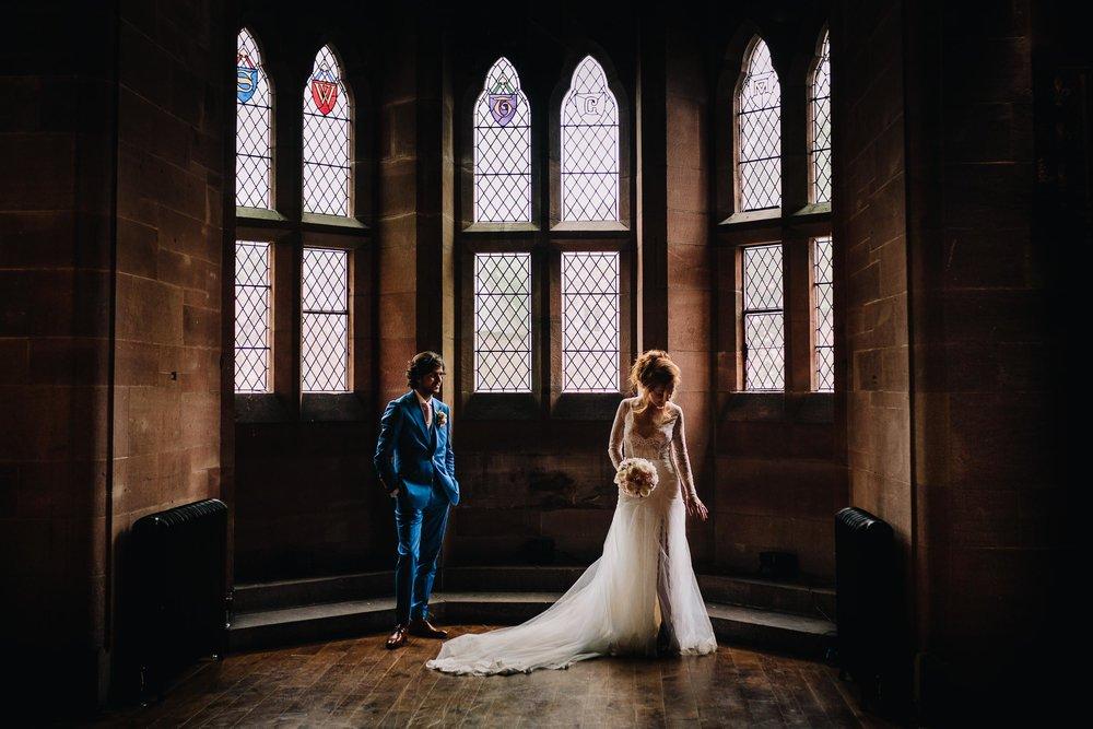 Creative Wedding photographer Peckforton castle Cheshire Northwest
