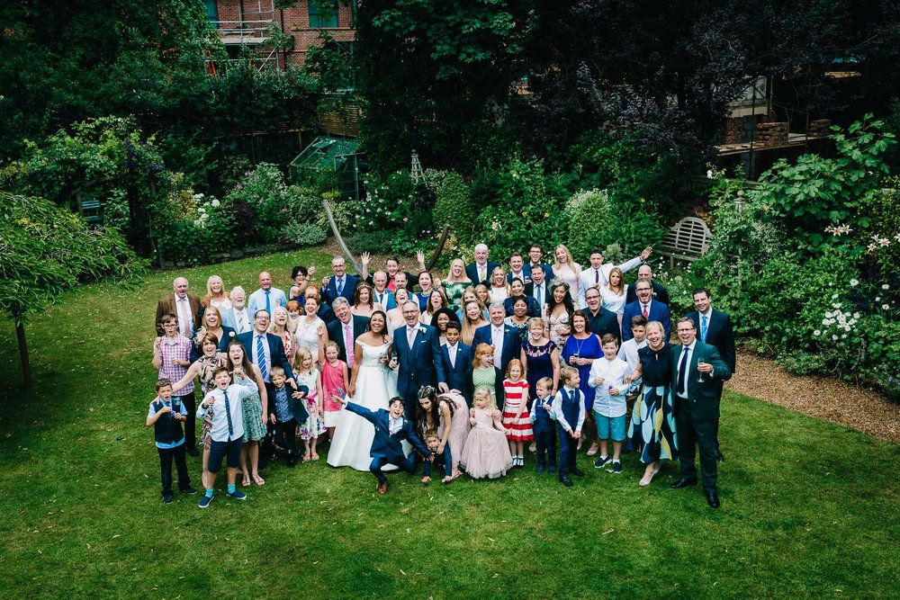 WEDDINGS GROUP PICTURE GARDEN CHESHIRE