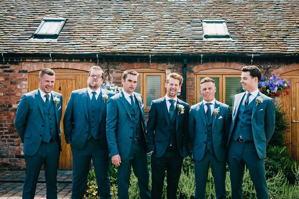 GROOMSMEN GROUP PORTRAIT AT MYTHE WEDDING BARN