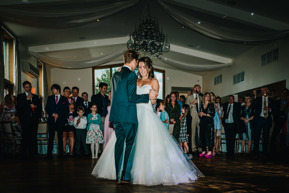 BRIDE AND GROOM FIRST DANCE AT MYTHE BARN