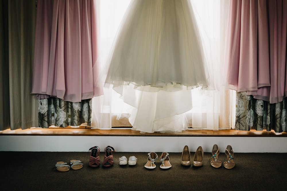 BRIDAL PARTY SHOES UNDER WEDDING DRESS