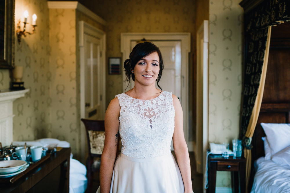 GORGEOUS BRIDE IN WEDDING DRESS BRIDAL PREP