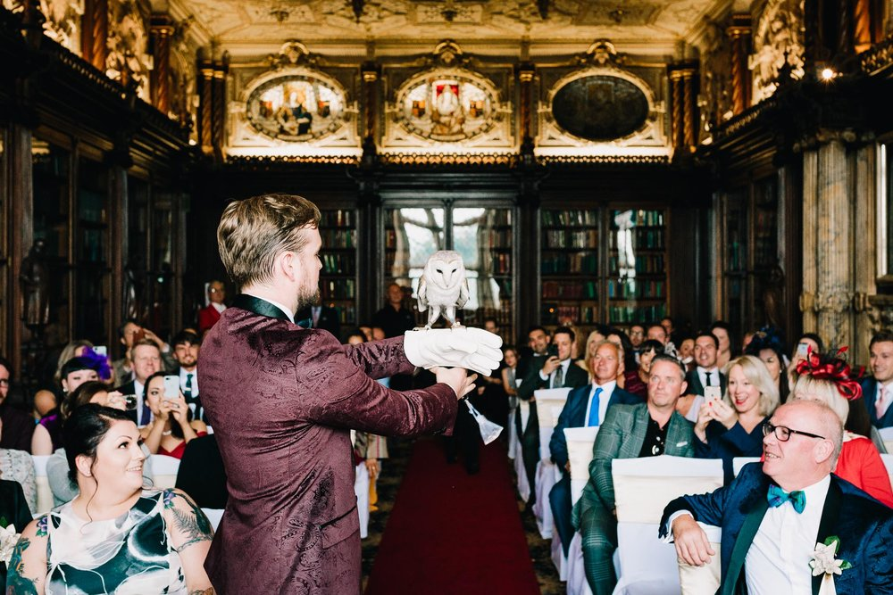 OWL RING BEARER AT CREWE HALL CHESHIRE