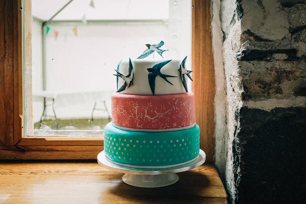THREE TIERED DIY WEDDING CAKE IN STONE BARN