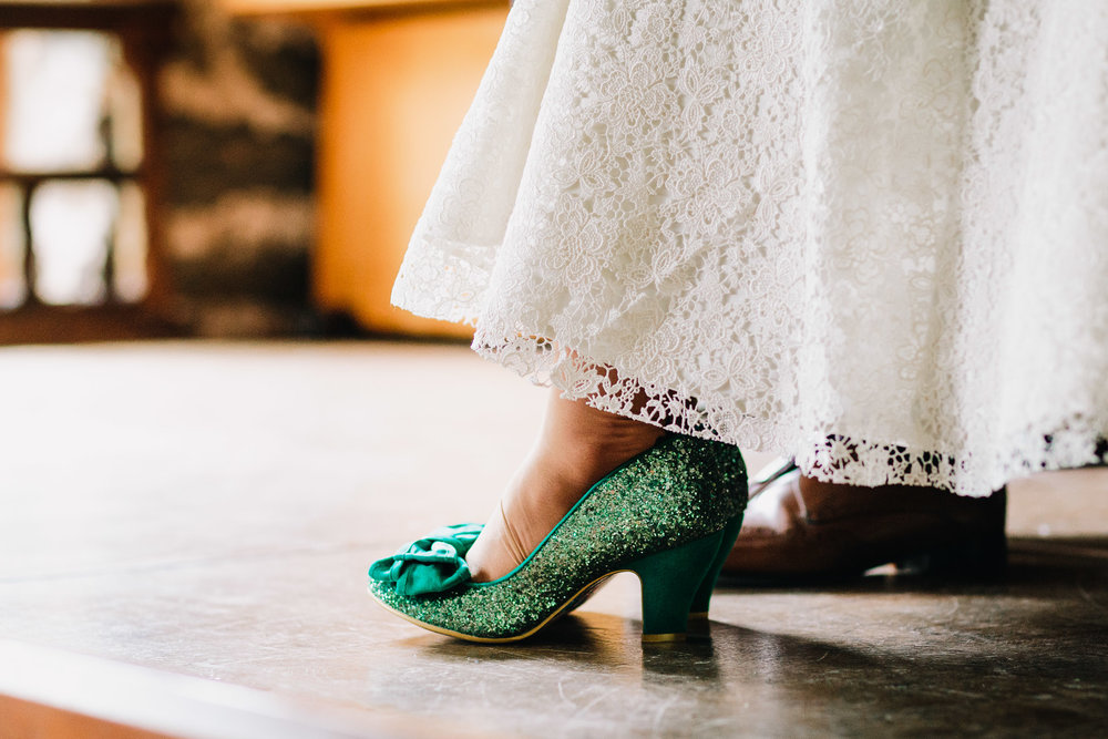 BRIDES SPARKLY GREEN WEDDING SHOES