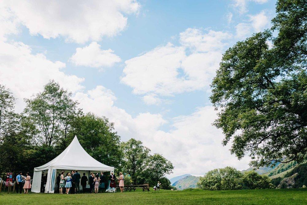 WEDDING PARTY TENT AT OUTDOOR LLYN GWYNANT WEDDING