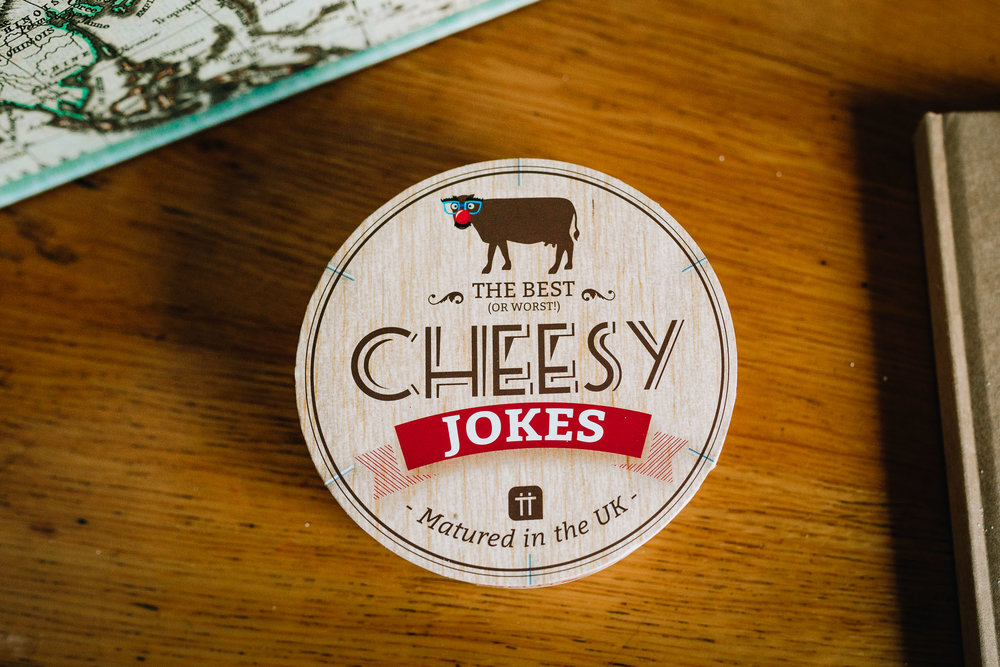 BOX OF JOKE CARDS WITH CHEESE BASED JOKES