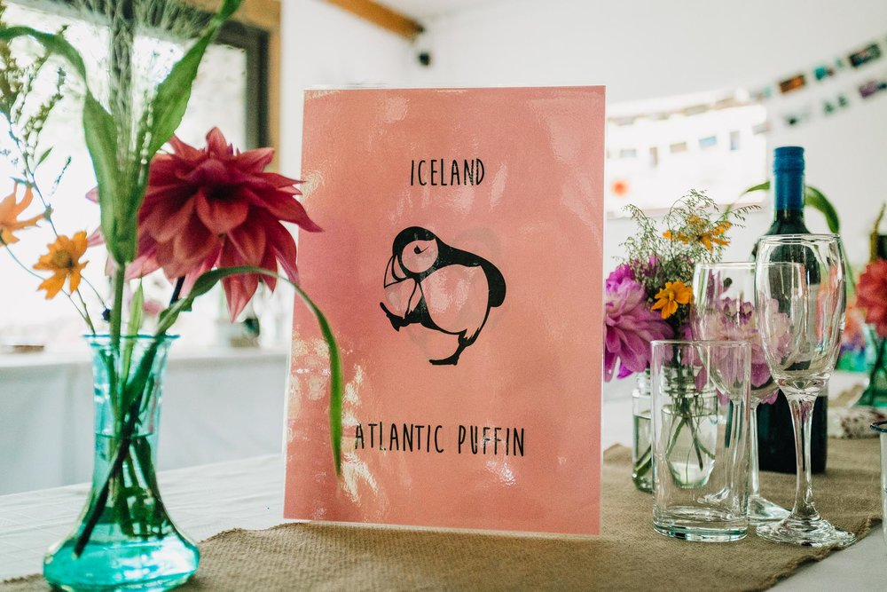 TABLE NAME PLACE IN PINK WITH PICTURE OF PUFFIN