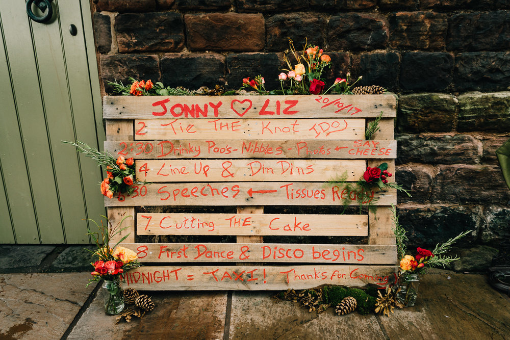 DIY WEDDING TIMELINE ON A WOODEN PALLET