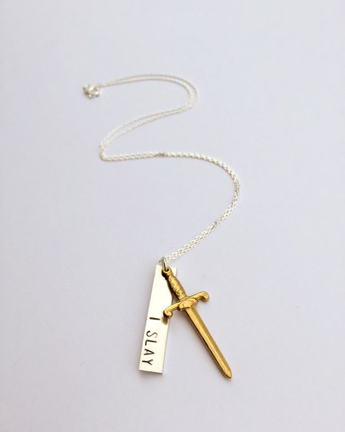 $37.99 I SLAY NECKLACE WITH SWORD CHARM