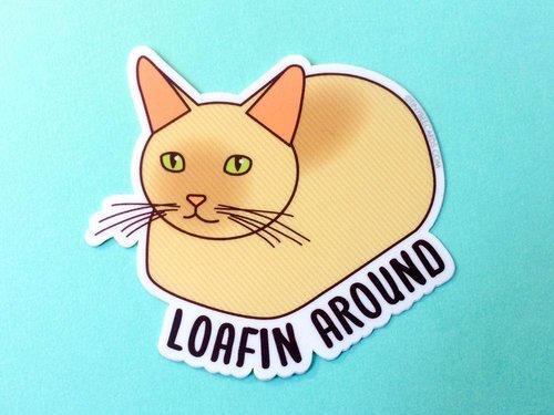 $2.99 LOAFIN AROUND CAT STICKER