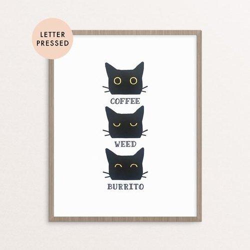 $21.99 COFFEE WEED BURRITO LETTERPRESS ART PRINT