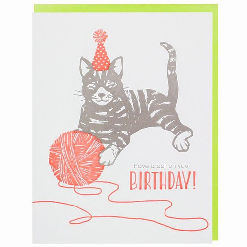 $4.49 CAT WITH YARN BIRTHDAY CARD